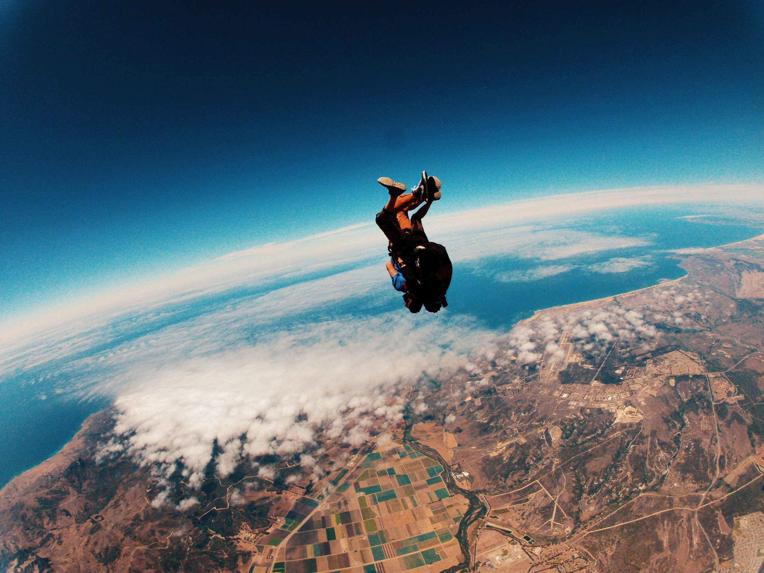 Aerial view of someone skydiving